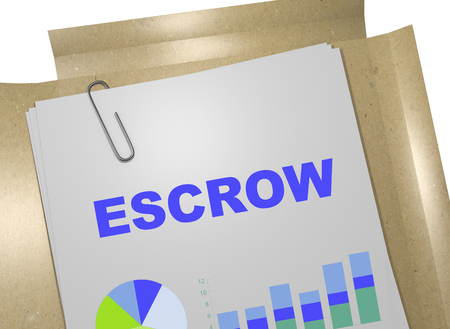 escrow: 3D illustration of ESCROW title on business document