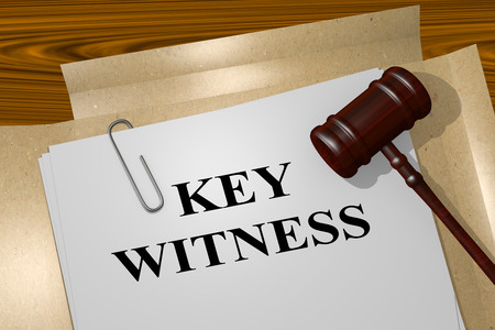 witness: 3D illustration of KEY WITNESS title on legal document Stock Photo