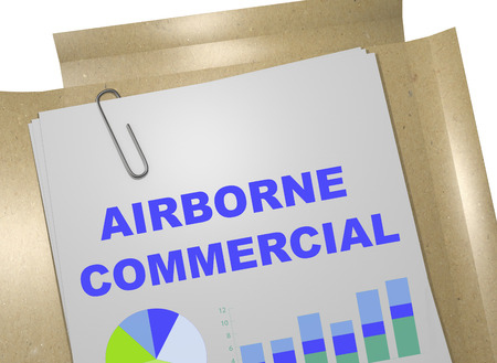 airborne: 3D illustration of AIRBORNE COMMERCIAL title on business document Stock Photo