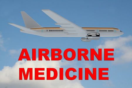 airborne: 3D illustration of AIRBORNE MEDICINE title on cloudy sky as a background, under an airplane.