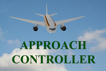 approach: 3D illustration of APPROACH CONTROLLER title on cloudy sky as a background, under a landing airplane. Stock Photo