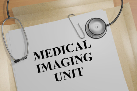 mammogram: 3D illustration of MEDICAL IMAGING UNIT title on a document