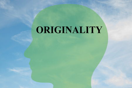 originality: Render illustration of ORIGINALITY script on head silhouette, with cloudy sky as a background.