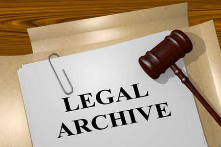 compliant: 3D illustration of LEGAL ARCHIVE title on legal document Stock Photo