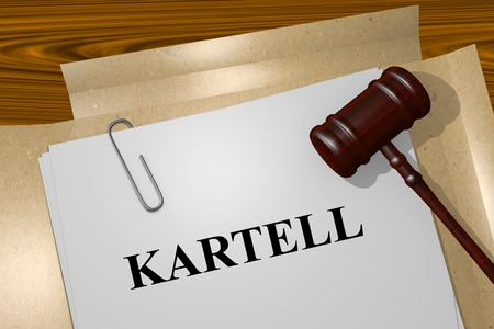 antitrust: 3D illustration of the word Cartel written in German on Legal Documents