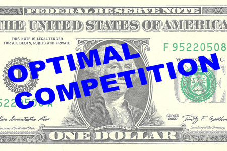 optimal: Render illustration of OPTIMAL COMPETITION title on One Dollar bill as a background
