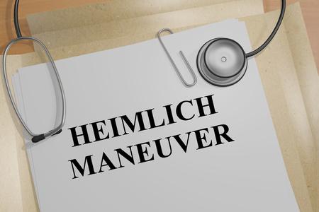 maneuver: 3D illustration of HEIMLICH MANEUVER title on medical document Stock Photo