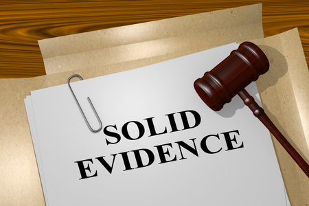 burglar proof: 3D illustration of SOLID EVIDENCE title on legal document Stock Photo
