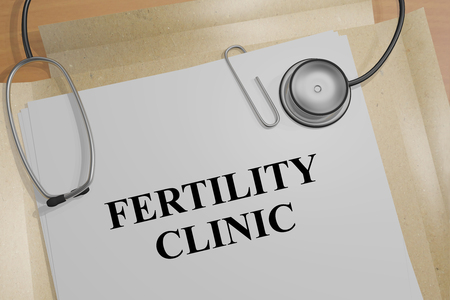 ejaculate: 3D illustration of FERTILITY CLINIC title on a document Stock Photo