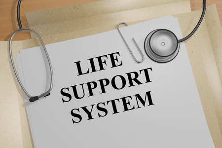 dissection: 3D illustration of LIFE SUPPORT SYSTEM title on medical document