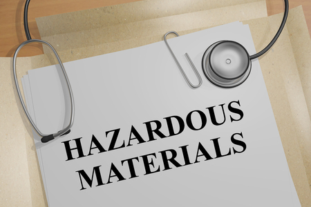 nuclear waste disposal: 3D illustration of HAZARDOUS MATERIALS title on medical document