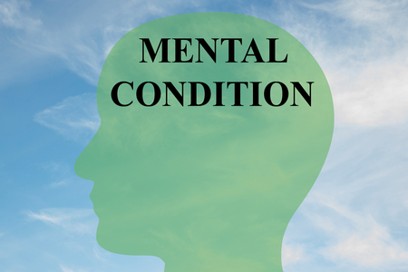 condition: Render illustration of MENTAL CONDITION script on head silhouette, with cloudy sky as a background. Stock Photo
