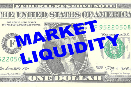 liquidity: Render illustration of MARKET LIQUIDITY title on One Dollar bill as a background Stock Photo