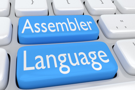 3D illustration of computer keyboard with the script Assembler Language on two adjacent pale blue buttons Stock Photo