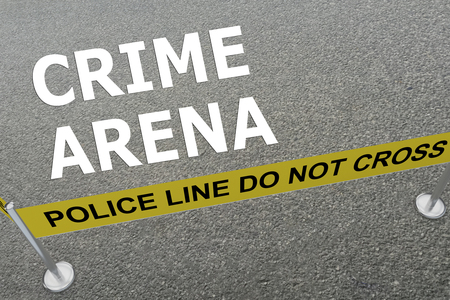 unsolved: 3D illustration of CRIME ARENA title on the ground in a police arena