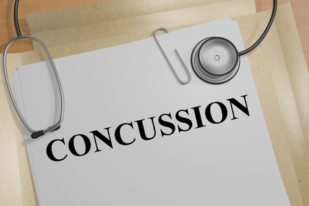 concussion: 3D illustration of CONCUSSION title on medical document Stock Photo