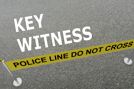 witness: 3D illustration of KEY WITNESS title on the ground in a police arena Stock Photo
