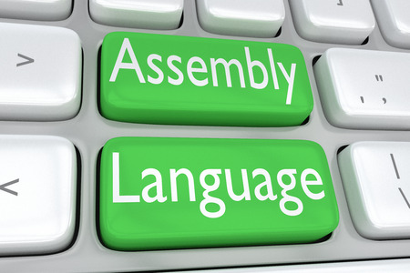 3D illustration of computer keyboard with the print Assembly Language on two adjacent green buttons Stock Photo