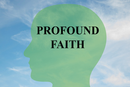 Render illustration of PROFOUND FAITH script on head silhouette, with cloudy sky as a background.