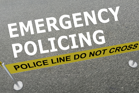 policing: 3D illustration of EMERGENCY POLICING title on the ground in a police arena