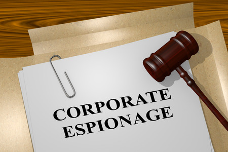 espionage: 3D illustration of CORPORATE ESPIONAGE title on legal document