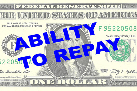 repay: Render illustration of ABILITY TO REPAY title on One Dollar bill as a background