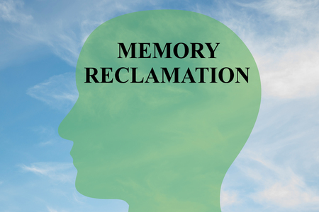 reclamation: Render illustration of MEMORY RECLAMATION script on head silhouette, with cloudy sky as a background.