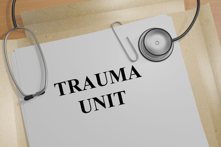 intubation: 3D illustration of TRAUMA UNIT title on a document Stock Photo