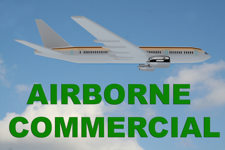 airborne: 3D illustration of AIRBORNE COMMERCIAL title on cloudy sky as a background, under an airplane. Stock Photo