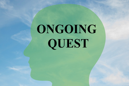 ongoing: Render illustration of ONGOING QUEST script on head silhouette, with cloudy sky as a background. Stock Photo