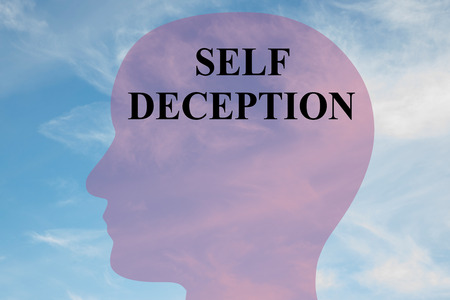 deception: Render illustration of SELF DECEPTION title on head silhouette, with cloudy sky as a background. Stock Photo