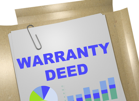 deed: 3D illustration of WARRANTY DEED title on business document Stock Photo
