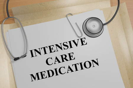 intensive care: 3D illustration of INTENSIVE CARE MEDICATION title on a document