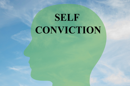 Render illustration of SELF CONVICTION script on head silhouette, with cloudy sky as a background.