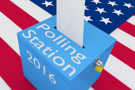 electoral system: 3D illustration of Polling Station, 2016 scripts and on ballot box, with US flag as a background.
