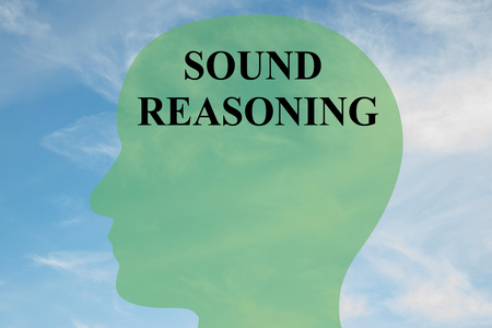 deduce: Render illustration of SOUND REASONING script on head silhouette, with cloudy sky as a background. Stock Photo