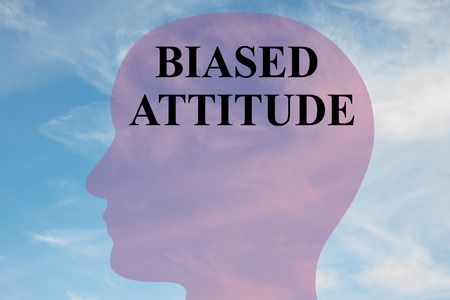 outsider: Render illustration of BIASED ATTITUDE title on head silhouette, with cloudy sky as a background. Stock Photo