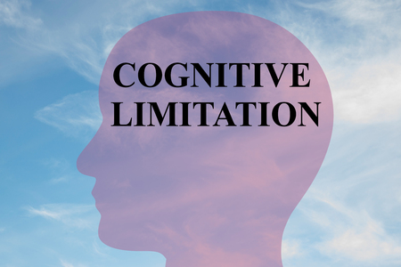 Render illustration of COGNITIVE LIMITATION title on head silhouette, with cloudy sky as a background.