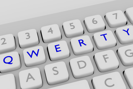 qwerty: 3D illustration of computer keyboard with the print QWERTY on six adjacent blue buttons, each letter in a different button. Stock Photo