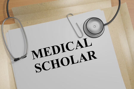 scholar: 3D illustration of MEDICAL SCHOLAR title on a document