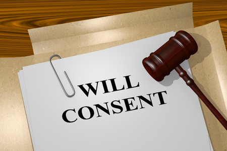 will: 3D illustration of WILL CONSENT title on legal document