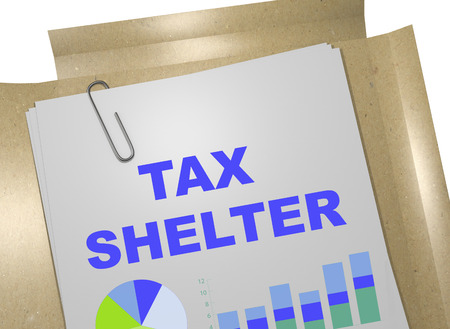 tax policy: 3D illustration of TAX SHELTER title on business document