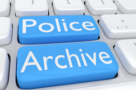 theft proof: 3D illustration of computer keyboard with the script Police Archive on two adjacent pale blue buttons Stock Photo