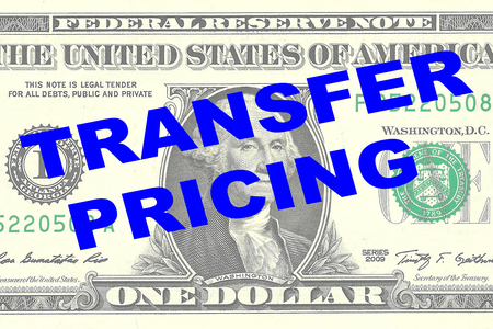 transfer pricing: Render illustration of TRANSFER PRICING title on One Dollar bill as a background