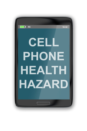 tumors: 3D illustration of CELL PHONE HEALTH HAZARD title on cellular screen, isolated on white. Stock Photo