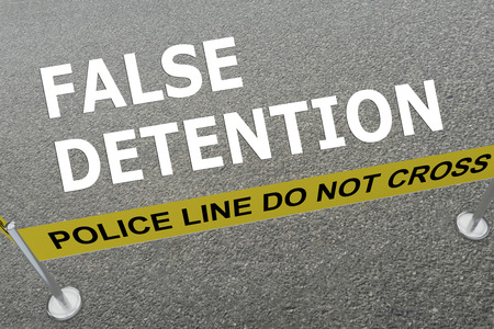 penitentiary: 3D illustration of FALSE DETENTION title on the ground in a police arena Stock Photo