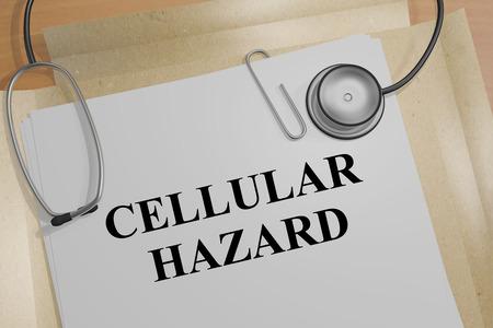 tumors: 3D illustration of CELLULAR HAZARD title on a document
