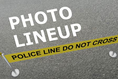 magistrate: 3D illustration of PHOTO LINEUP title on the ground in a police arena