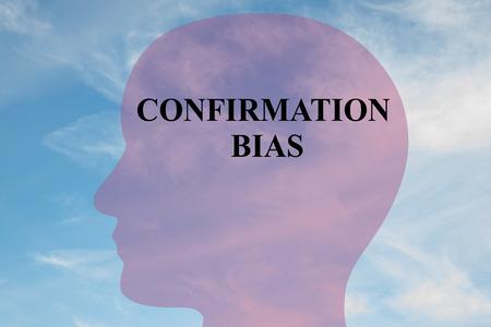 """confirmacion: Ilustración de procesamiento de título """"sesgo de confirmación"""" en la silueta de la cabeza, con el cielo nublado como fondo."""