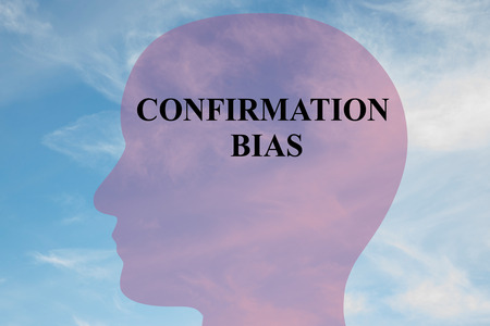 Render illustration of CONFIRMATION BIAS title on head silhouette, with cloudy sky as a background.